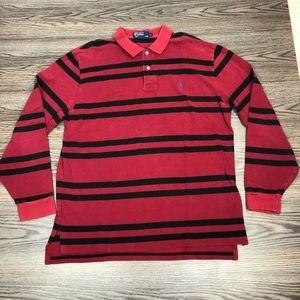 Polo Ralph Lauren Red & Black Stripe Polo Shirt XL